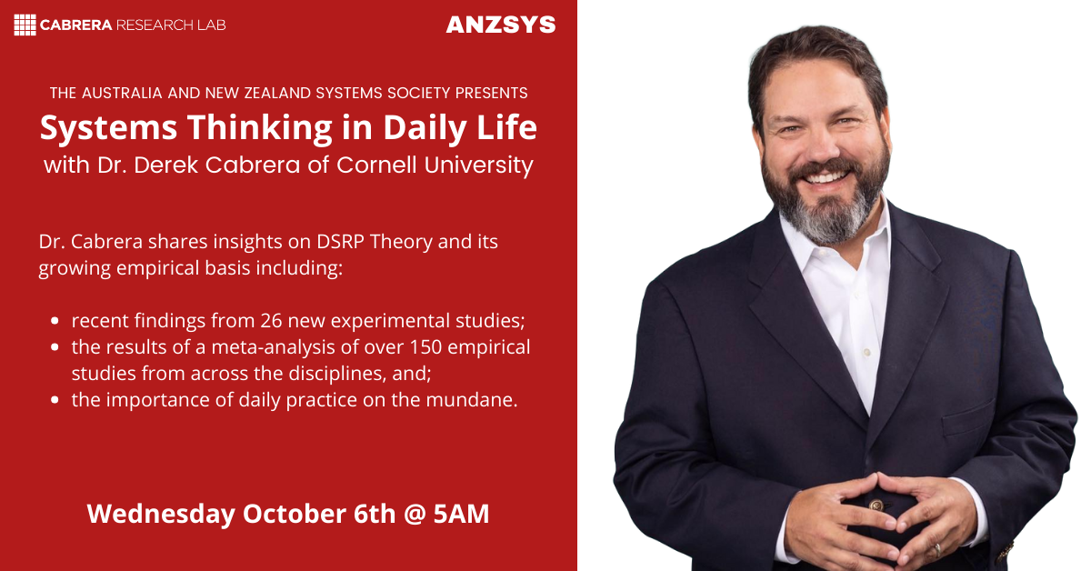 ANZSYS presentsSystems Thinking in Daily Lifewith Dr. Derek Cabrera of Cornell University